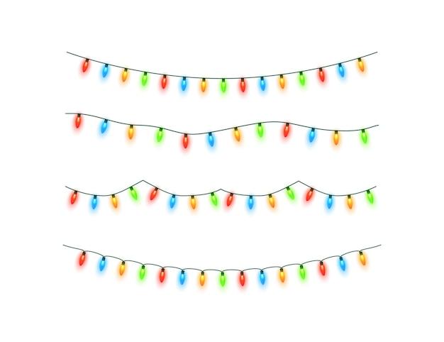 Weihnachtsbeleuchtung isoliert bunte weihnachtsgirlande vektor leuchtende glühbirnen auf drahtschnüren