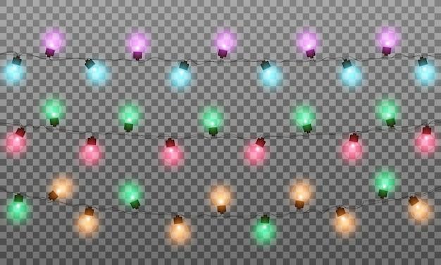 Weihnachtsbeleuchtung. realistische mehrfarbige lichterkettengirlande für neujahr und weihnachten