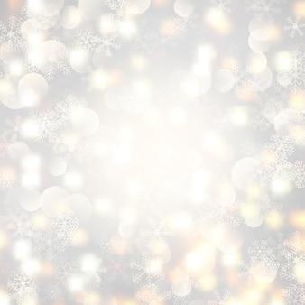 Weihnachtsbeleuchtung und schneeflocken