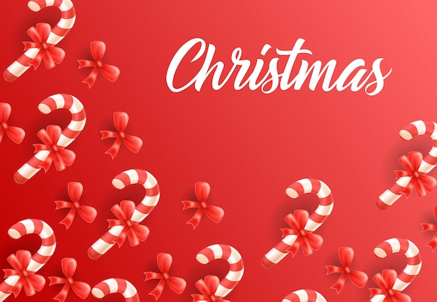 Weihnachtsbeschriftung auf hintergrund mit zuckerstangenmuster