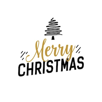 Weihnachtsbeschriftung mit kreativem baum