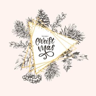 Weihnachtsbeschriftung mit zweigen des weihnachtsbaumes.