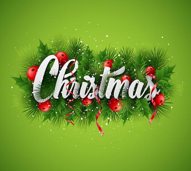 Weihnachtsbeschriftungskarte mit stechpalme und tannenbaumast, grußkarte