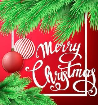 Weihnachtsbeschriftungskarte mit tannenbaumast