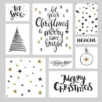 Weihnachtsbeschriftungsmuster und dekorative elemente vektorsatz von weihnachtstags und -fahnen