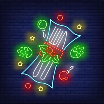 Weihnachtsbesteck im neon-stil