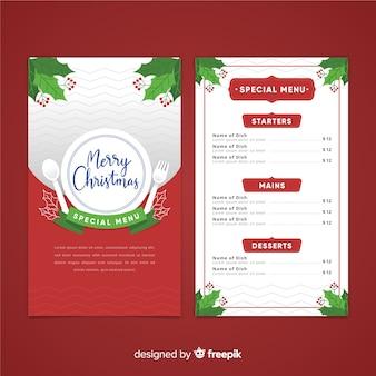 Weihnachtsbesteck-menüschablone