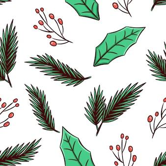 Weihnachtsblätter in nahtlosem muster mit handgezeichnetem stil