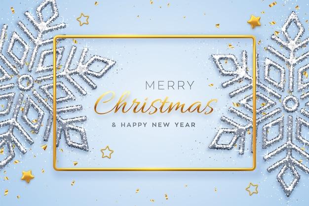 Weihnachtsblau mit leuchtenden schneeflocken, goldenen sternen und perlen.