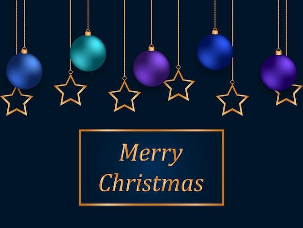 Weihnachtsblauer hintergrund mit goldenen sternen und bunten kugeln.