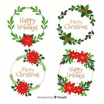 Weihnachtsblumen- & kranzkollektion im flachen design