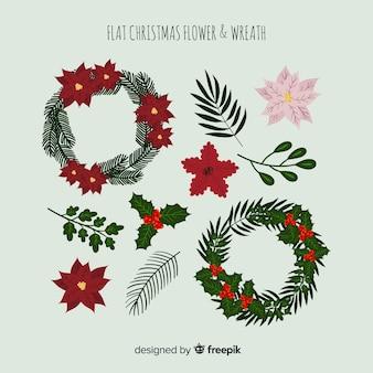 Weihnachtsblumen und -kränze eingestellt
