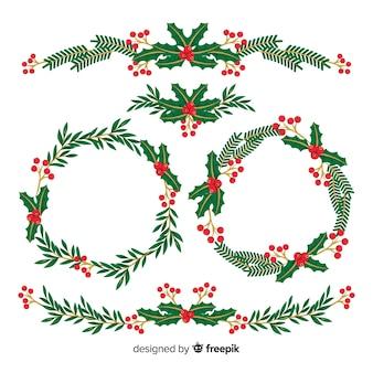 Weihnachtsblumenansammlung im flachen design