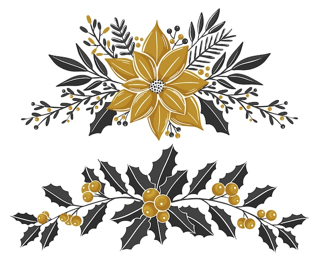 Weihnachtsblumenkompositionen mit winterpflanzen und beeren