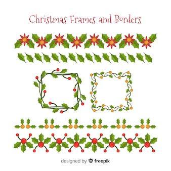 Weihnachtsblumenrahmen- und -randsammlung