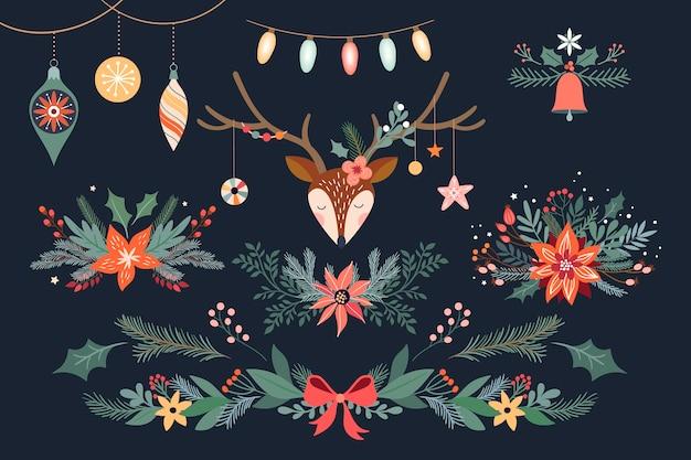 Weihnachtsblumensammlung mit hirsch, blumensträußen und girlande