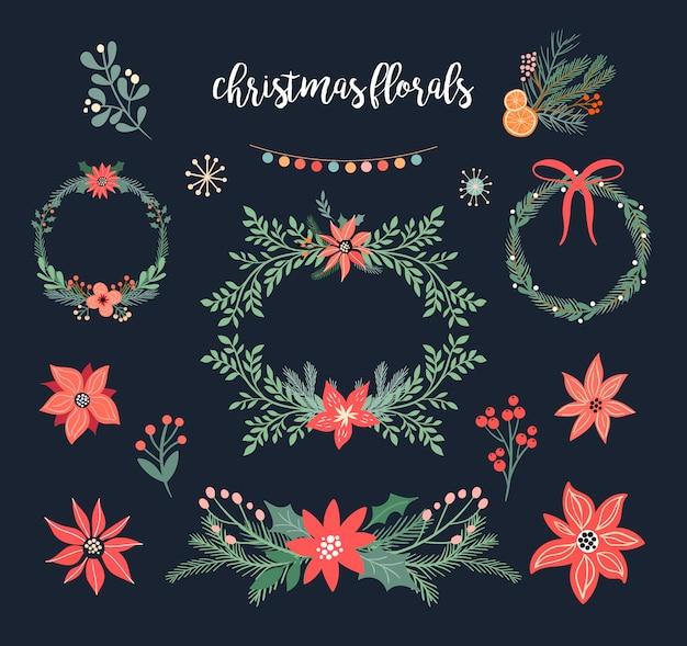 Weihnachtsblumensammlung mit weihnachtskränzen