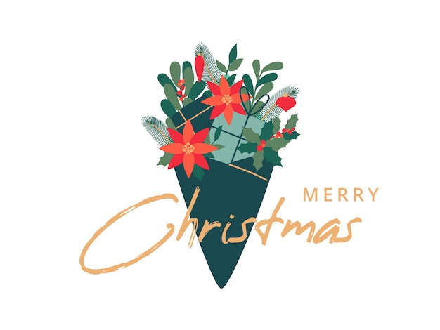 Weihnachtsblumenstrauß mit blättern der stechpalme, der mistel, der kiefernzweige, der blumenpoinsettia und der geschenke.