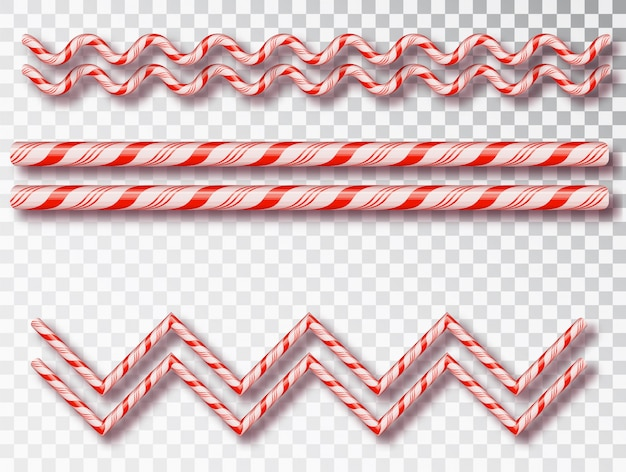 Weihnachtsbonbongrenze isoliert. leeres weihnachtsdesign, realistischer rot-weißer gedrehter kordelrahmen.