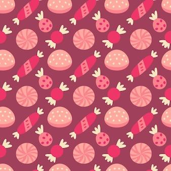 Weihnachtsbonbons nahtloses muster mit süßigkeiten und gelee. herbst- und winterferien. tapete, druck, verpackung, papier, textildesign. einer von 20