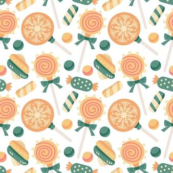 Weihnachtsbonbons nahtloses muster mit süßigkeiten, zuckerstange und lutscher, marshmallow, dragee, gelee. herbst- und winterferien. tapete, druck, verpackung, papier, textildesign. einer von 20