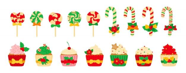 Weihnachtsbonbons, süßigkeiten und cupcake-set. leckere bunte flache karikaturbonbons des feiertags. lutscherrohrkaramell, zuckerkuchencreme. neujahrs- und weihnachtsessen, geschmückte stechpalme. isolierte illustration