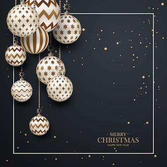 Weihnachtsbraune kugeln mit geometrischem muster. realistischer 3d-stil mit weißem rahmen, abstrakter feiertagshintergrund. mit frohen weihnachten. platz für ihren text.
