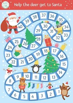 Weihnachtsbrettspiel für kinder mit niedlichen tieren und weihnachtsmann. pädagogisches brettspiel mit tannenbaum, geschenken, dekorationen. hilf dem reh, zum weihnachtsmann zu kommen. lustige druckbare winteraktivität.