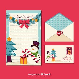 Weihnachtsbriefpapier im flachen design