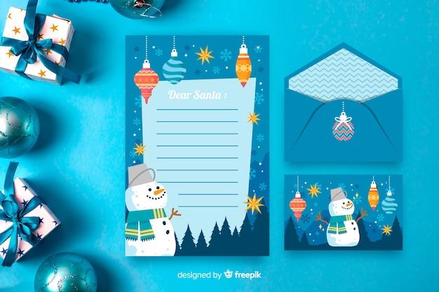 Weihnachtsbriefpapierschablone im flachen design
