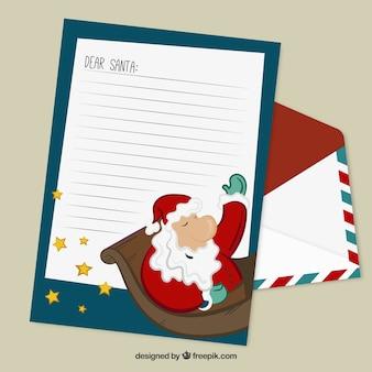 Weihnachtsbriefvorlage mit weihnachtsmann-abbildung
