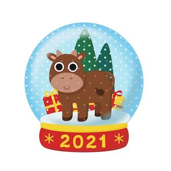 Weihnachtsbulle in einer schneekugel. illustration mit dem symbol des neuen jahres 2021.