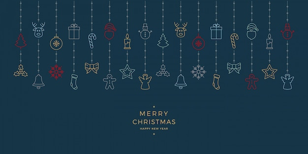 Weihnachtsbunte ikonenelemente, die blauen hintergrund hängen