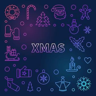 Weihnachtsbunter rahmen - hintergrund der frohen weihnachten