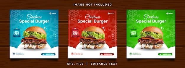 Weihnachtsburger verkauf verkauf social media promotion und instagram banner post design
