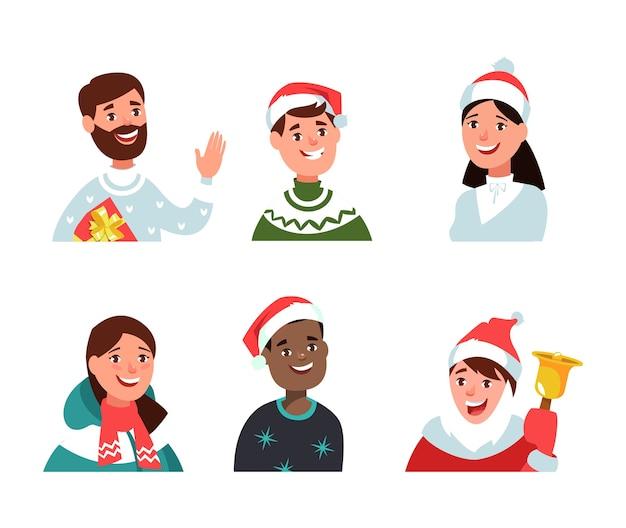 Weihnachtscharakter-avatar im winterkleidungs-karikaturstil