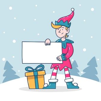 Weihnachtscharakter, der leere fahne hält