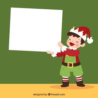 Weihnachtscharakter mit briefhintergrund