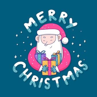 Weihnachtscharakter mit schriftzug