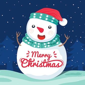 Weihnachtscharakter mit schriftzug Kostenlosen Vektoren