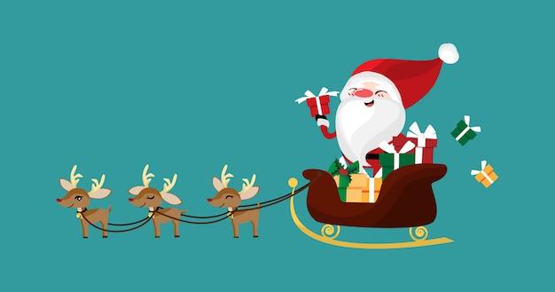 Weihnachtscharakter von weihnachtsmann in einem schlitten mit rentier.