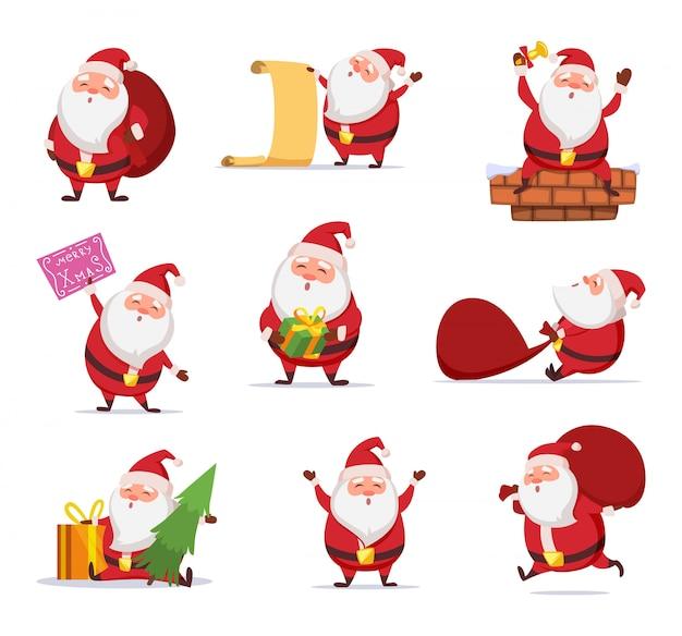 Weihnachtscharaktere von lustigem sankt in den dynamischen haltungen. vektor-maskottchen-design im cartoon-stil
