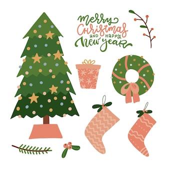 Weihnachtsdekor-objekte setzen frohes neues jahr-sammlung niedliche elemente der feiertagsweihnachtsbaum-kranzsoc ...