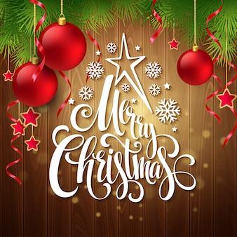 Weihnachtsdekoration auf holz und beschriftung, grußkarte
