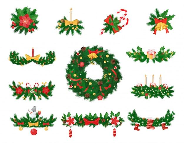 Weihnachtsdekoration aus fichte und jingle bells