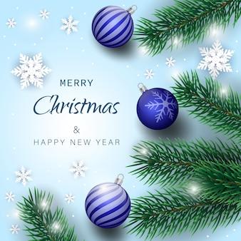 Weihnachtsdekoration element. weihnachtsbaumzweige hintergrund. grünes buntes kiefernmuster. vektor