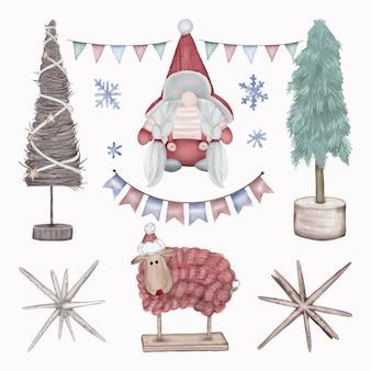Weihnachtsdekoration figur bäume, schafe und gnome