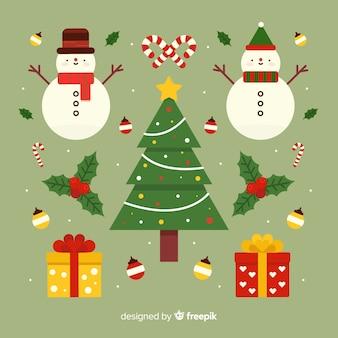 Weihnachtsdekoration im flachen design