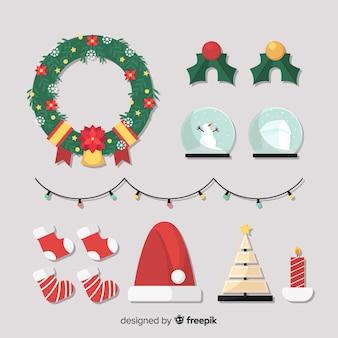 Weihnachtsdekoration in flachen stil
