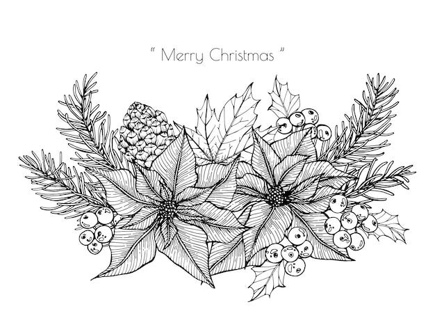 Weihnachtsdekoration mit blumen- und blattzeichnungsillustration.